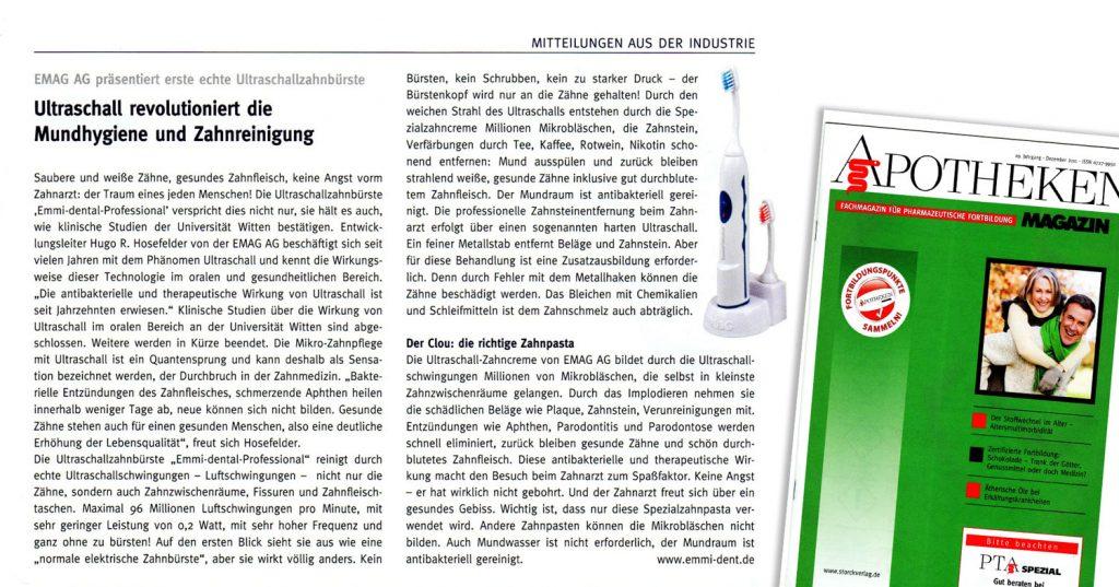 apotheken magazin berichtet über ultraschall mundhygiene