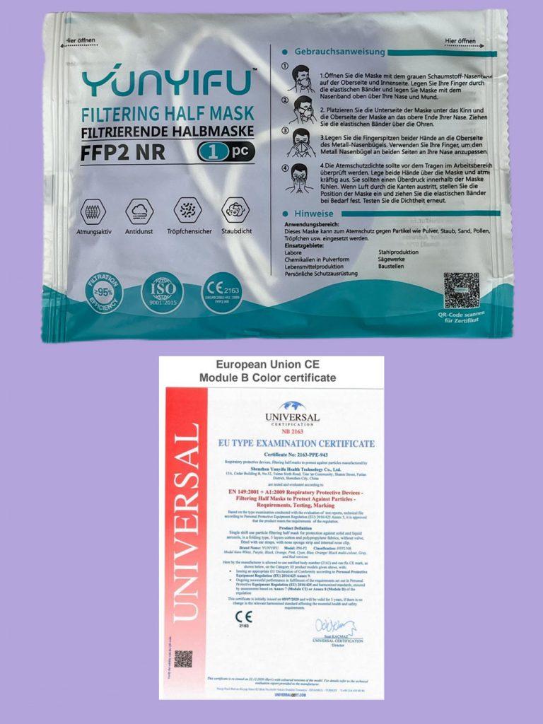 Einzelverpackung und CE Zertifikat FFP2 Maske