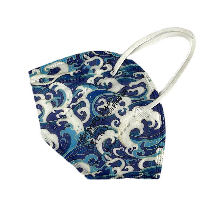FFP2 Maske Blau Muster Wave