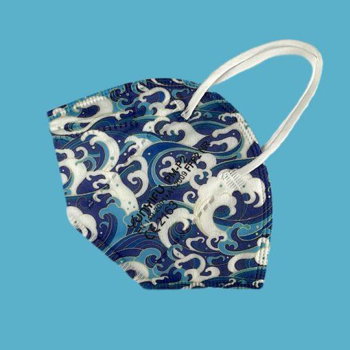 FFP2-Atemschutzmaske blau Muster Wave colour