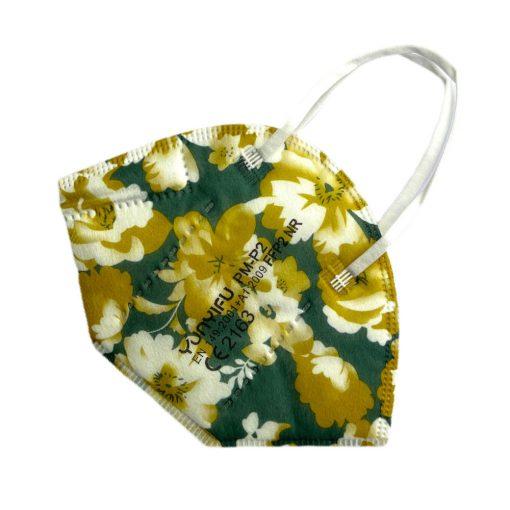 FFP2 Atemschutzmaske grün floral